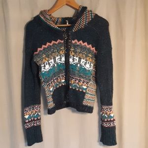 Free People Colorful Hooded Sweater